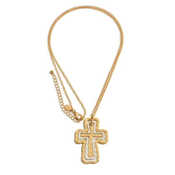 """Long Necklace Featuring a Two Tone Cross Layered Pendant.  - Pendant 2""""  - Approximately 34"""" in Length - 3"""" Adjustable Extender"""