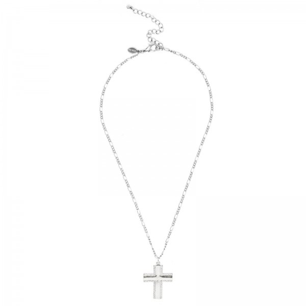 """Short Figaro Chain Necklace Featuring Cross Pendant.   - Approximately 20"""" Long"""