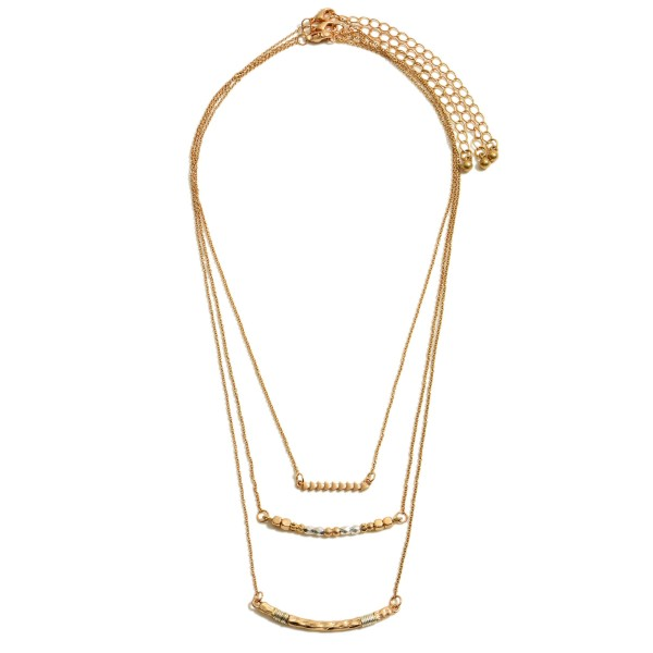 """3-Piece Two Tone Beaded Arrow Bar Necklace Set.  - 3 Necklaces Per Set - Pendants from 1"""" - 2""""  - Approximately 16"""" in Length  - 3"""" Adjustable Extender"""