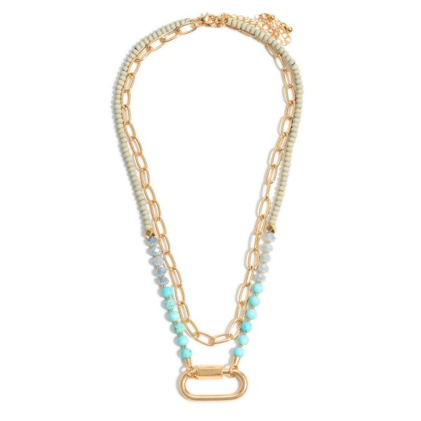 """2 PC Semi Precious Beaded Chain Link Carabiner Necklace Set.  - 2 Necklaces Per Set - Carabiner Pendant 1""""  - Approximately 18"""" in Length - 3"""" Adjustable Extender"""
