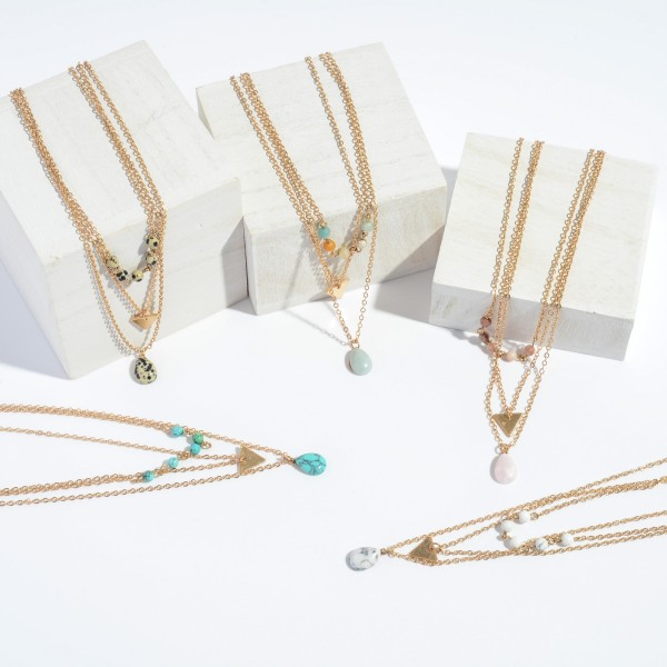 """3 PC Semi Precious Necklace Set.  - 3 Necklaces Per Set - Approximately 16"""" in Length - 3"""" Adjustable Extender"""