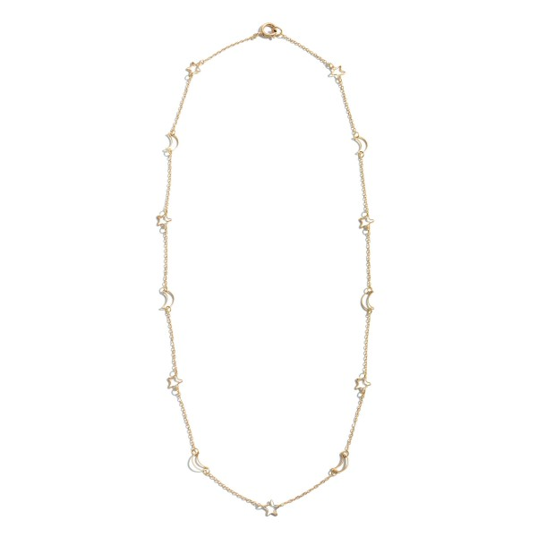 """Moon & Star Chain Necklace.  - Approximately 22"""" in Length"""