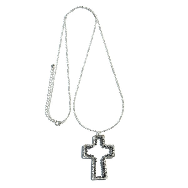 """Long Necklace Featuring a Beaded Cross Pendant.  - Pendant 2.5""""  - Approximately 36"""" in Length - 3"""" Adjustable Extender"""
