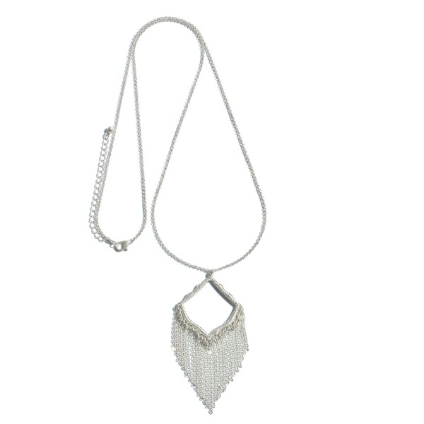 "Long Necklace Featuring a Moroccan Metal Tassel Pendant.  - Pendant 3""  - Approximately 36"" in Length - 3"" Adjustable Extender"