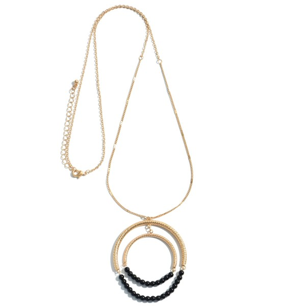 """Long Necklace Featuring Semi Precious Beaded Double Circle Pendant.  - Pendant 2.5""""  - Approximately 34"""" in Length - 3"""" Adjustable Extender"""