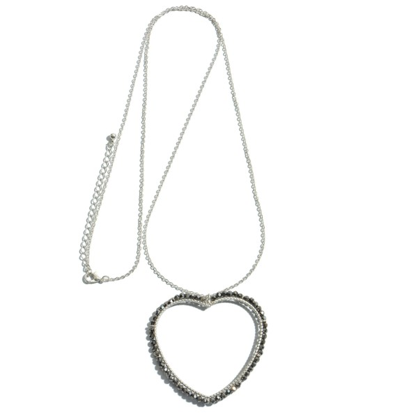 "Long Necklace Featuring Beaded Heart Pendant.  - Pendant 2.5""  - Approximately 36"" L - 3"" Adjustable Extender"