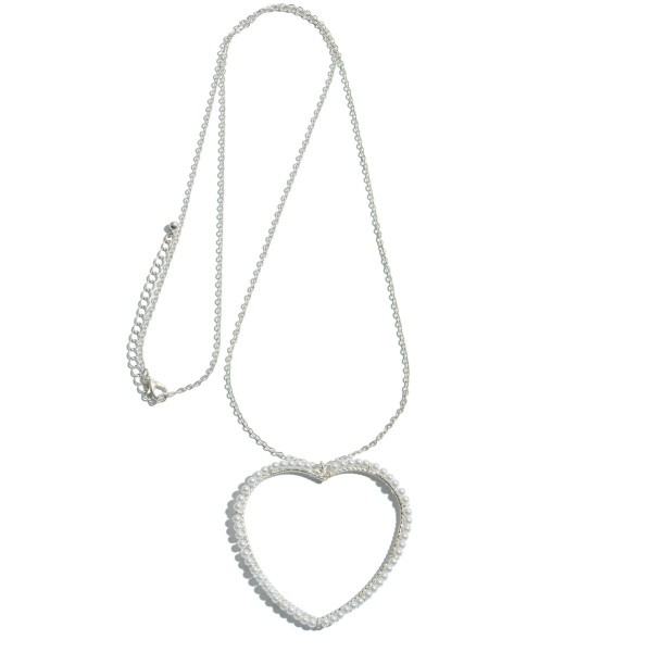 "Long Necklace Featuring Pearl Beaded Heart Pendant.  - Pendant 2.5""  - Approximately 36"" L - 3"" Adjustable Extender"