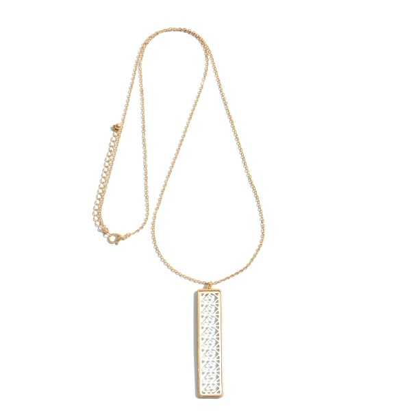 """Long Necklace Featuring a Filigree Bar Pendant.  - Pendant 2.5""""  - Approximately 34"""" in Length - 3"""" Adjustable Extender"""
