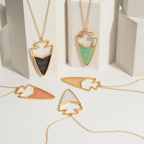 """Long Gold Chain Necklace Featuring Arrowhead Shaped Pendant with Filigree Accents.   - Approximately 36"""" Long"""
