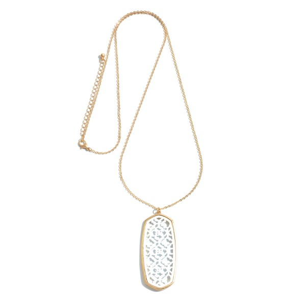 """Long Necklace Featuring a Oblong Filigree Pendant.  - Pendant 2.5""""  - Approximately 34"""" in Length - 3"""" Adjustable Extender"""