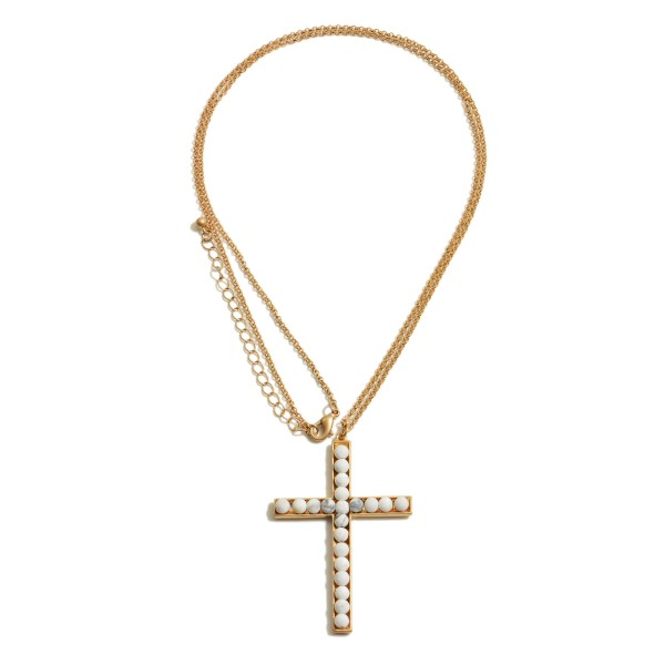 """Long Necklace Featuring a Semi Precious Beaded Cross Pendant.  - Pendant 2.5""""  - Approximately 34"""" in Length - 3"""" Adjustable Extender"""