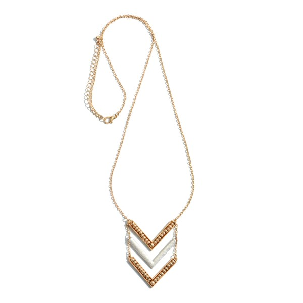 "Two Tone Metal Beaded Chevron Pendant Necklace.  - Pendant 2""  - Approximately 28"" in Length - 3"" Adjustable Extender"