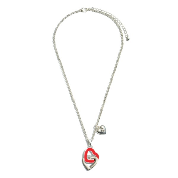 "Interlocking Valentine Heart Necklace in Silver.  - Pendant 1""  - Approximately 18"" in Length - 3"" Adjustable Extender"