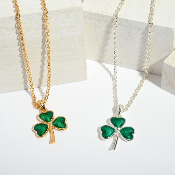 "St. Patricks Epoxy Clover Pendant Necklace.  - Pendant 1.25""  - Approximately 16"" in Length - 3"" Adjustable Extender"