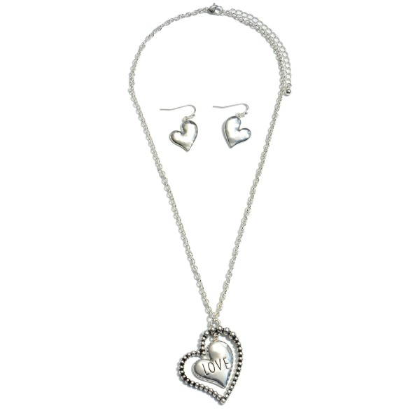 "Love Nested Heart Pendant Necklace in Silver.  - Pendant 1.75""  - Approximately 18"" in Length - 3"" Adjustable Extender"
