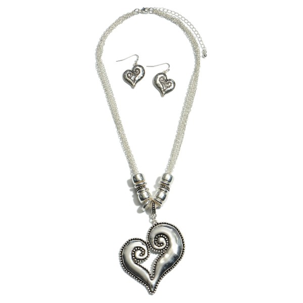 "Antique Silver Statement Heart Pendant Necklace.  - Pendant 2.5"" - Approximately 18"" in Length - 3"" Adjustable Extender"