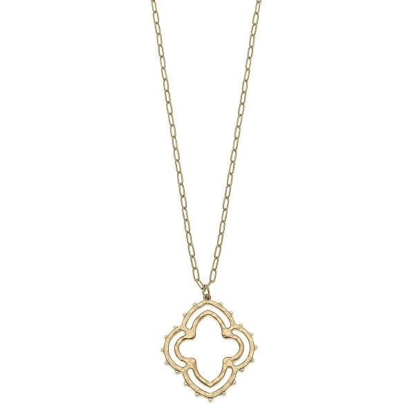 """Moroccan Clover Pendant Necklace in Worn Gold with Stud Accents.  - Pendant 2""""  - Approximately 34"""" L - 3"""" Adjustable Extender"""