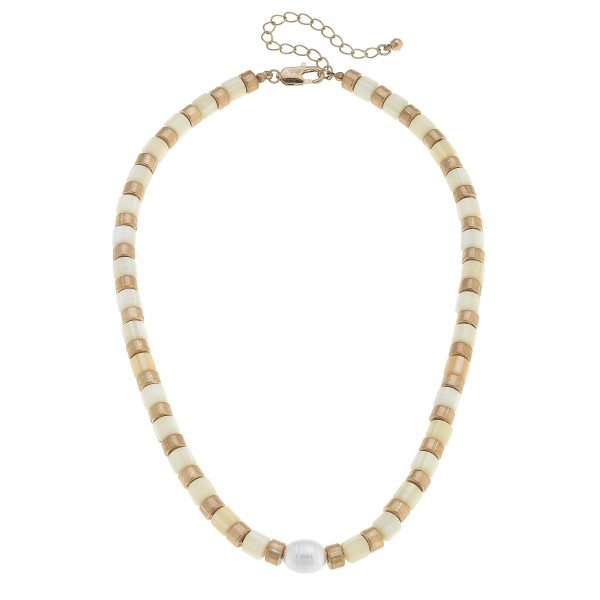 "Rubber Beaded Pearl Necklace.  - Pearl 7mm  - Approximately 16"" in Length - 3"" Adjustable Extender"