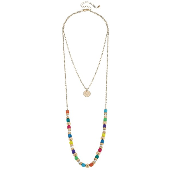 "Rubber Beaded Layered Coin Necklace.  - Approximately 18"" in Length - 3"" Adjustable Extender"
