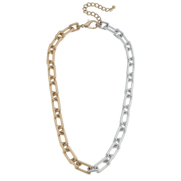 "Two Tone Chunky Chain Link Necklace.  - Approximately 18"" in Length - 3"" Adjustable Extender"