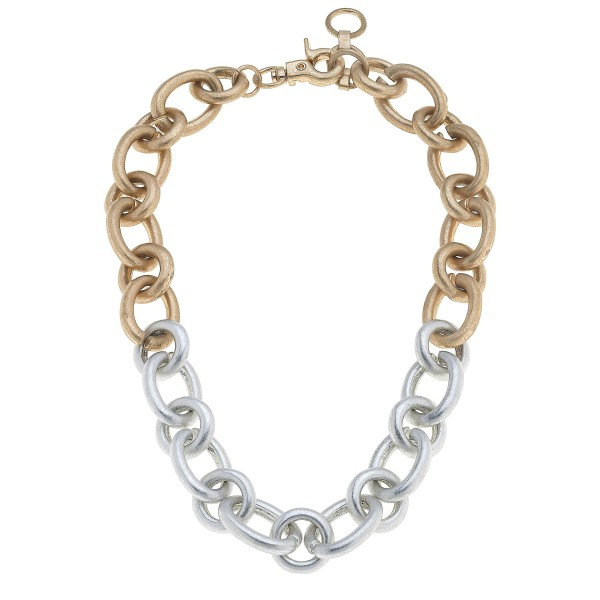 "Two Tone Chunky Chain Link Necklace.  - Approximately 16"" in Length - 3"" Adjustable Extender"