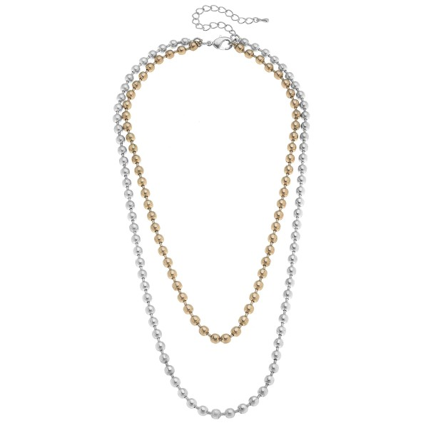 "Two Tone Ball Chain Link Layered Necklace.  - Approximately 20"" in Length - 3"" Adjustable Extender"