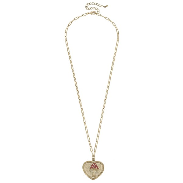 "Mushroom Heart Pendant Necklace in Worn Gold.  - Pendant 1.5""  - Approximately 26"" in Length - 3"" Adjustable Extender"