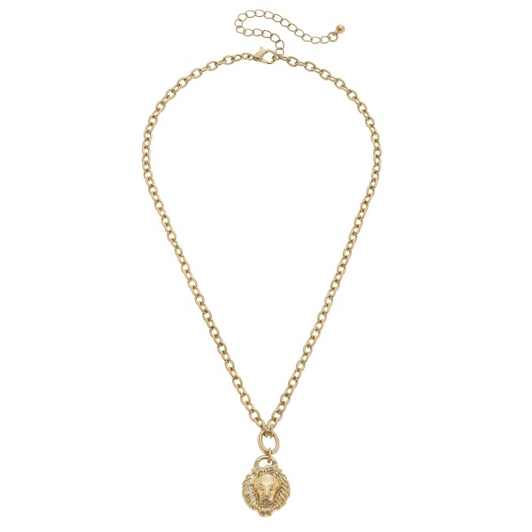 """Lion Pendant Necklace in Worn Gold.  - Pendant .75""""  - Approximately 16"""" in Length - 3"""" Adjustable Extender"""