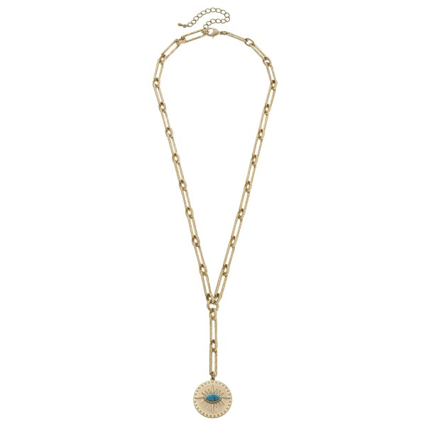 "Chain Link Evil Eye Y Necklace in Worn Gold.  - Pendant 1.25""  - Approximately 30"" in Length - 3"" Adjustable Extender"