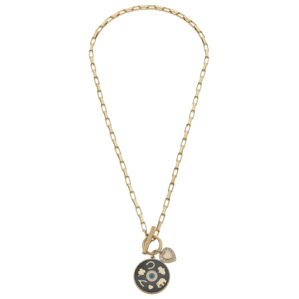 "Enamel Coated Talisman Charm Pendant in Worn Gold.  - Pendant 1""  - Toggle Bar Clasp - Approximately 20"" in Length"
