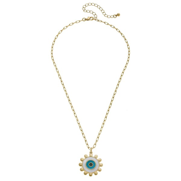 "Coated Evil Eye Talisman Necklace in Worn Gold.  - Pendant 1""  - Approximately 16"" in Length - 3"" Adjustable Extender"