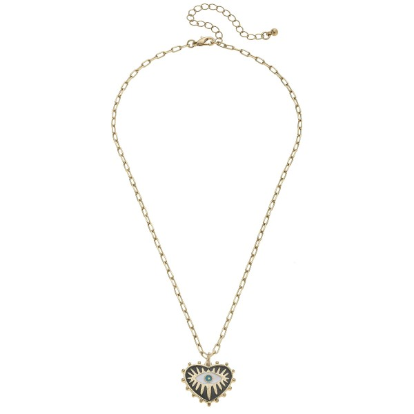 "Enamel Coated Heart-Shaped Talisman Pendant Necklace.  - Pendant 1""  - Approximately 16"" in Length - 3"" Adjustable Extender"