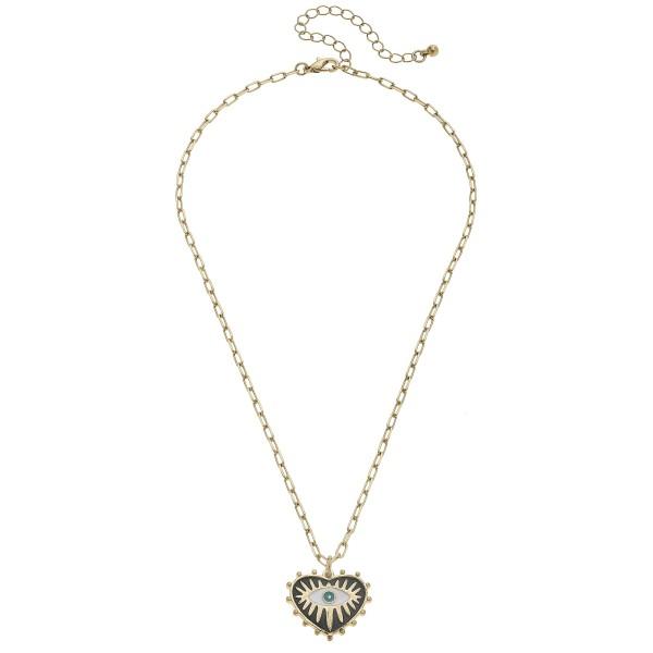 "Enamel Coated Heart-Shaped Talisman Pendant Necklace.  - Pendant 1""  - Approximately 16"" in Length - 3"" Adjustable Extender"
