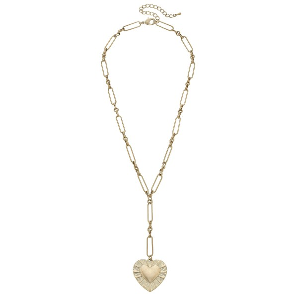 "Chain Link Heart Y Necklace in Worn Gold.  - Pendant 1""  - Approximately 20"" in Length - 3"" Adjustable Extender"