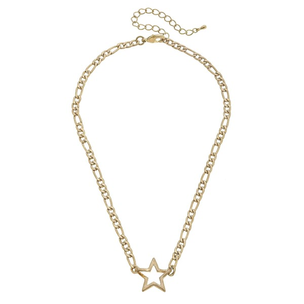 "Figaro Chain Link Star Necklace in Worn Gold.  - Pendant 1""  - Approximately 16"" in Length - 3"" Adjustable Extender"