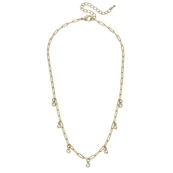 "Clear Drip Chain Link Necklace in Worn Gold.  - Approximately 16"" in Length - 3"" Adjustable Extender"