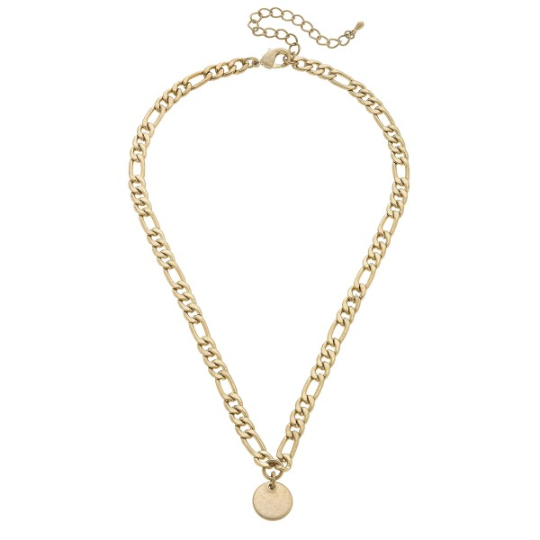"Figaro Chain Link Disc Necklace in Worn Gold.  - Pendant .5""  - Approximately 16"" in Length  - 3"" Adjustable Extender"