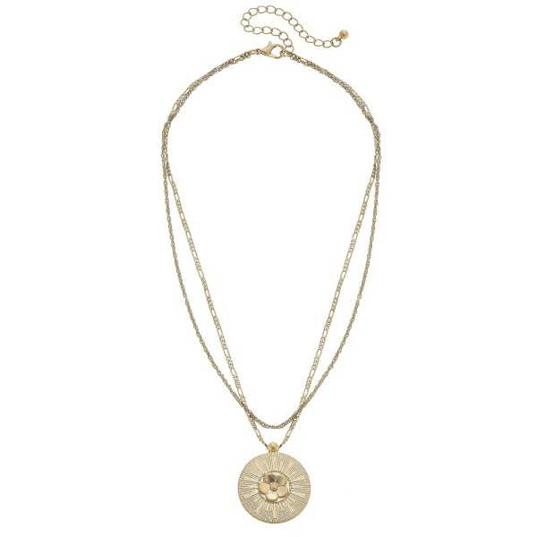 "Layered Flower Pendant Necklace in Worn Gold.  - Pendant 1""  - Approximately 16"" in Length - 3"" Adjustable Extender"