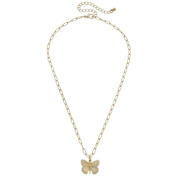 "Butterfly Pendant Necklace in Worn Gold.  - Pendant 1"" - Approximately 16"" in Length - 3"" Adjustable Extender"