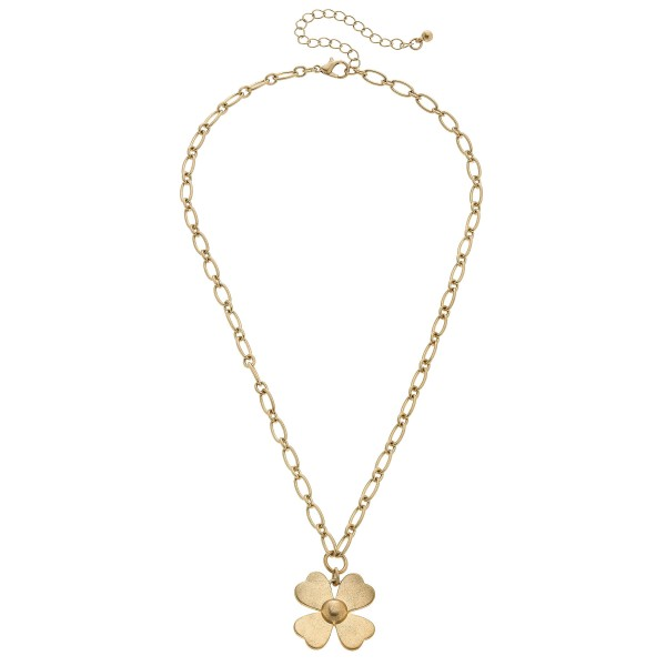 "Flower Pendant Necklace in Worn Gold.  - Pendant 1""  - Approximately 16"" in Length - 3"" Adjustable Extender"