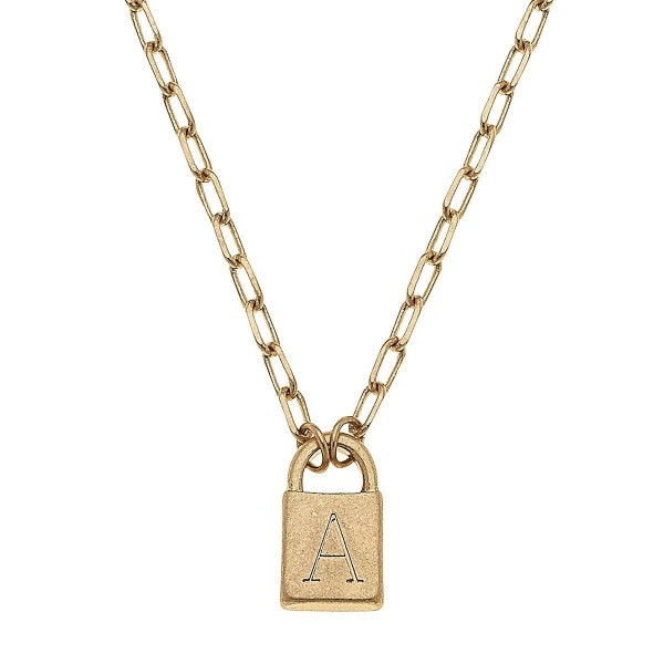 "Initial A Padlock Pendant Necklace in Worn Gold.  - Pendant .5""  - Approximately 16"" in Length - 3"" Adjustable Extender"