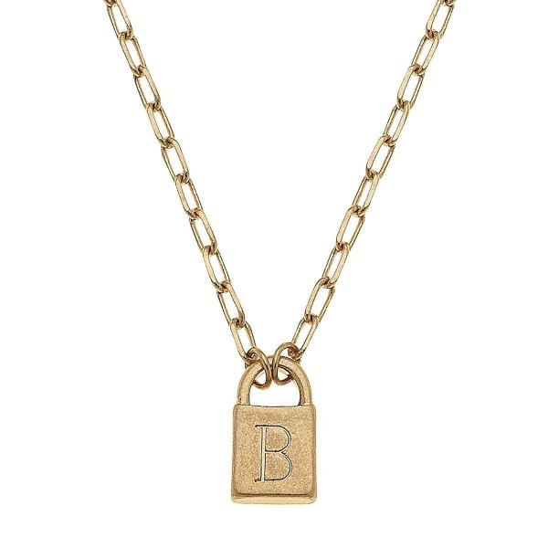 "Initial B Padlock Pendant Necklace in Worn Gold.  - Pendant .5""  - Approximately 16"" in Length - 3"" Adjustable Extender"