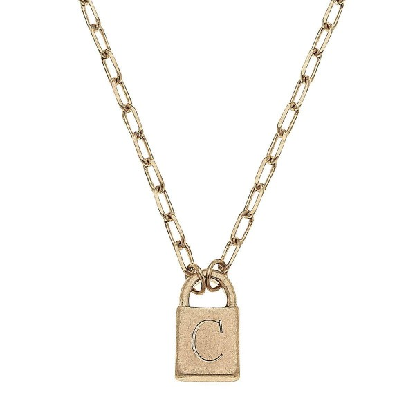 """Initial C Padlock Pendant Necklace in Worn Gold.  - Pendant .5""""  - Approximately 16"""" in Length - 3"""" Adjustable Extender"""