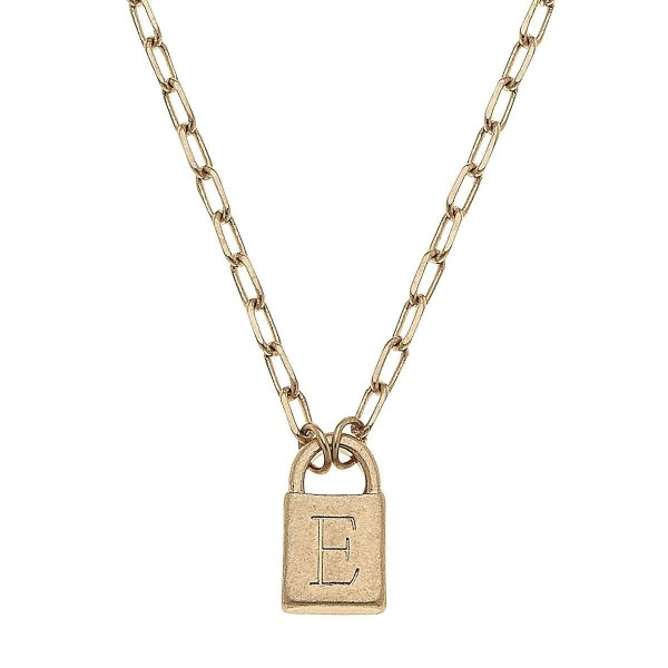 """Initial E Padlock Pendant Necklace in Worn Gold.  - Pendant .5""""  - Approximately 16"""" in Length - 3"""" Adjustable Extender"""