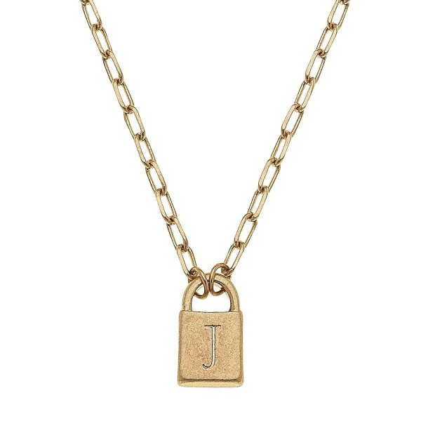 """Initial J Padlock Pendant Necklace in Worn Gold.  - Pendant .5""""  - Approximately 16"""" in Length - 3"""" Adjustable Extender"""