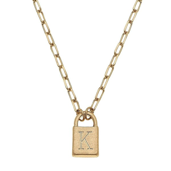 """Initial K Padlock Pendant Necklace in Worn Gold.  - Pendant .5""""  - Approximately 16"""" in Length - 3"""" Adjustable Extender"""