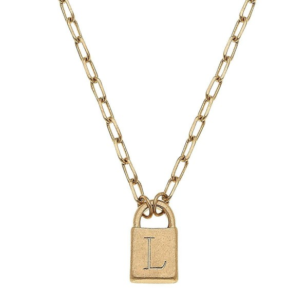 """Initial L Padlock Pendant Necklace in Worn Gold.  - Pendant .5""""  - Approximately 16"""" in Length - 3"""" Adjustable Extender"""