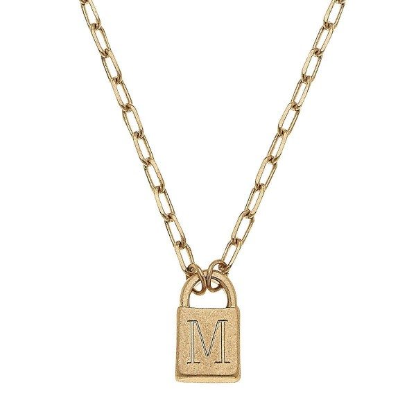 """Initial M Padlock Pendant Necklace in Worn Gold.  - Pendant .5""""  - Approximately 16"""" in Length - 3"""" Adjustable Extender"""