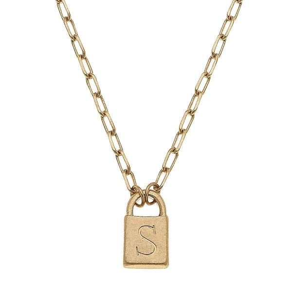 """Initial S Padlock Pendant Necklace in Worn Gold.  - Pendant .5""""  - Approximately 16"""" in Length - 3"""" Adjustable Extender"""