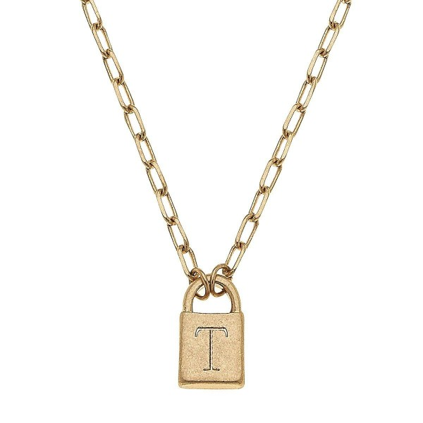 """Initial T Padlock Pendant Necklace in Worn Gold.  - Pendant .5""""  - Approximately 16"""" in Length - 3"""" Adjustable Extender"""